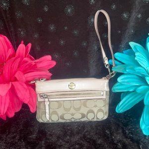 Coach leather/signature C wristlet/sm bag